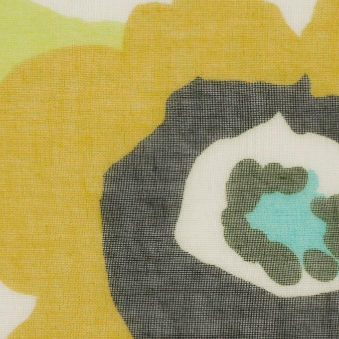 ポリエステル×フラワー(マスタード&グリーン)×ボイル_全2色 イメージ1