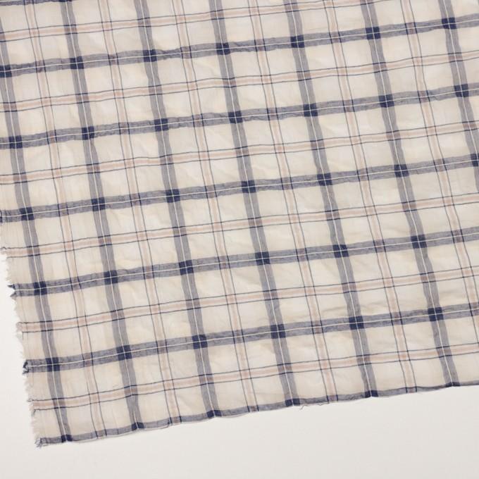 コットン&ポリウレタン×チェック(ネイビー&オークル)×ボイルシャーリング イメージ2