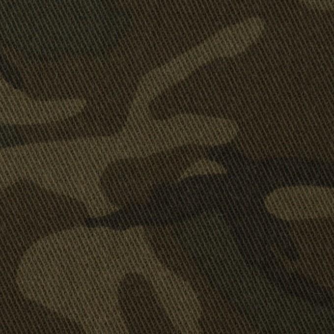 コットン&ポリウレタン×迷彩(カーキ)×チノクロス・ストレッチ イメージ1
