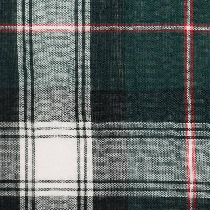 コットン×チェック(モスグリーン&ネイビー)×ボイルワッシャー イメージ1