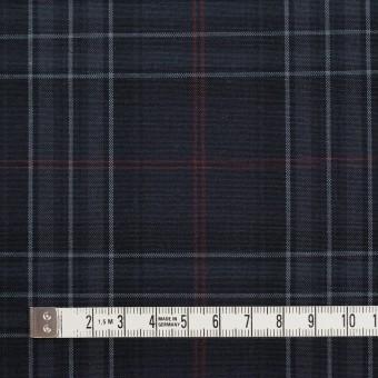 コットン&ポリウレタン×チェック(チャコール、グレー&エンジ)×ポプリンストレッチ サムネイル4