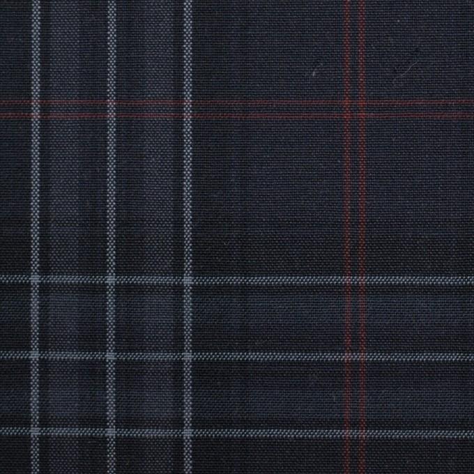 コットン&ポリウレタン×チェック(チャコール、グレー&エンジ)×ポプリンストレッチ イメージ1