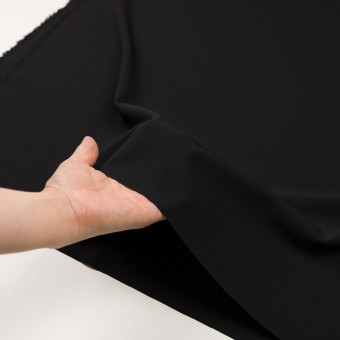 ウール&ポリウレタン×無地(ブラック)×ポプリンストレッチ_イタリア製 サムネイル5