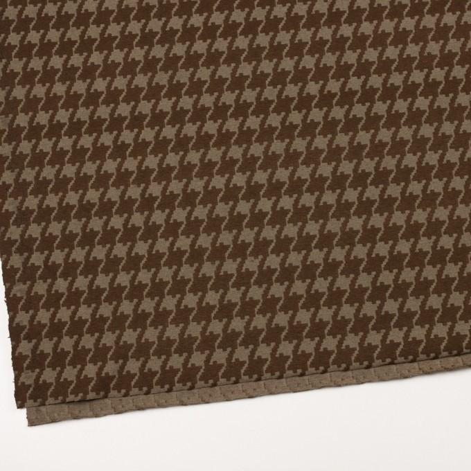 ポリエステル&コットン×幾何学模様(カーキブラウン)×ジャガードニット イメージ2