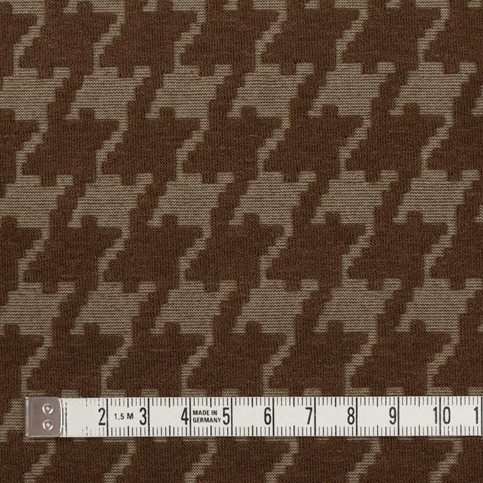 ポリエステル&コットン×幾何学模様(カーキブラウン)×ジャガードニット イメージ4