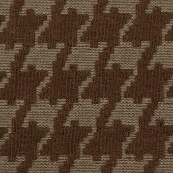 ポリエステル&コットン×幾何学模様(カーキブラウン)×ジャガードニット サムネイル1