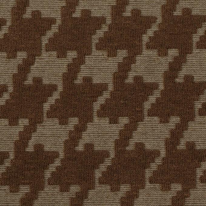 ポリエステル&コットン×幾何学模様(カーキブラウン)×ジャガードニット イメージ1