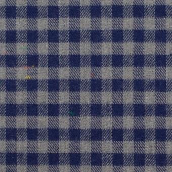コットン&ポリエステル×チェック(ネイビー&グレー)×ヘリンボーン_全4色 サムネイル1