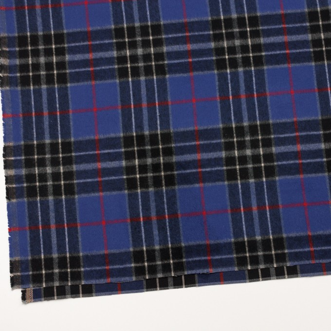 コットン×チェック(マリンブルー&ブラック)×フランネル イメージ2