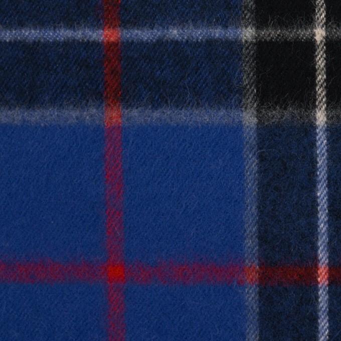 コットン×チェック(マリンブルー&ブラック)×フランネル イメージ1