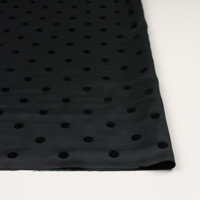 ポリエステル×水玉(ブラック)×サージ_フロッキー イメージ3