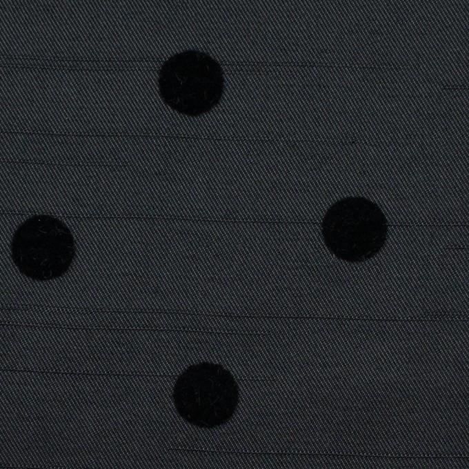 ポリエステル×水玉(ブラック)×サージ_フロッキー イメージ1