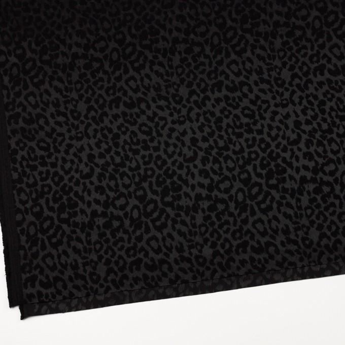 コットン&ポリエステル混×レオパード(ブラック)×サテンジャガード・ストレッチ イメージ2
