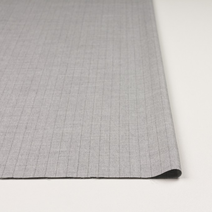 ウール&レーヨン混×ストライプ(シルバーグレー)×サージストレッチ イメージ3