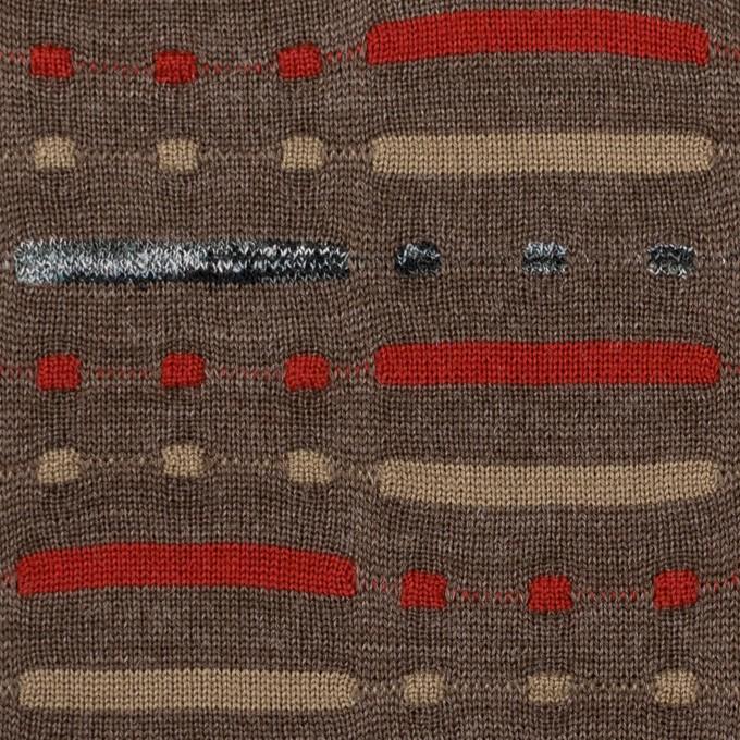 ウール&ナイロン混×幾何学模様(モカブラウン)×天竺ジャガードニット_全3色 イメージ1