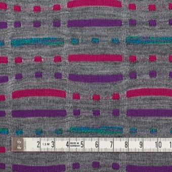 ウール&ナイロン混×幾何学模様(グレー)×天竺ジャガードニット_全3色 サムネイル4
