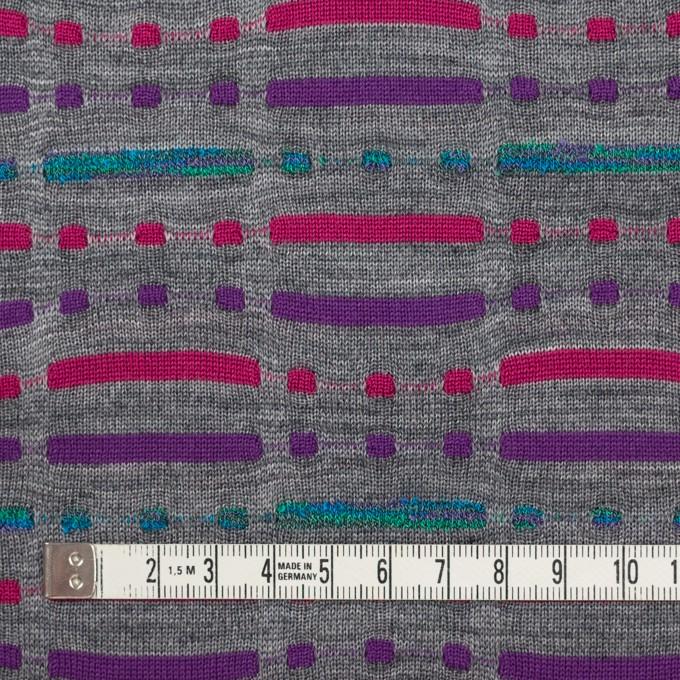 ウール&ナイロン混×幾何学模様(グレー)×天竺ジャガードニット_全3色 イメージ4