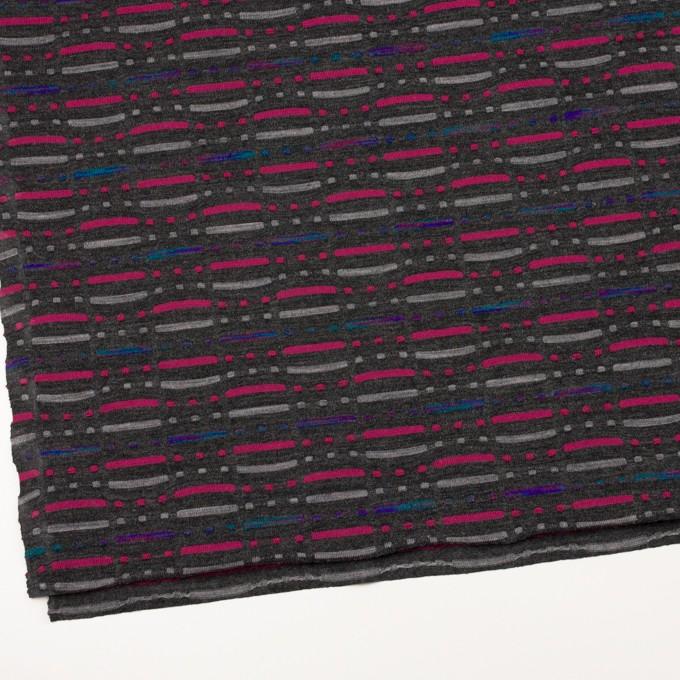 ウール&ナイロン混×幾何学模様(チャコールグレー)×天竺ジャガードニット_全3色 イメージ2