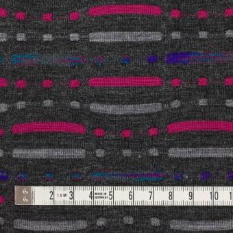 ウール&ナイロン混×幾何学模様(チャコールグレー)×天竺ジャガードニット_全3色 サムネイル4