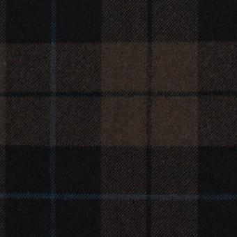 ポリエステル&レーヨン混×チェック(ダークブラウン)×サージストレッチ サムネイル1
