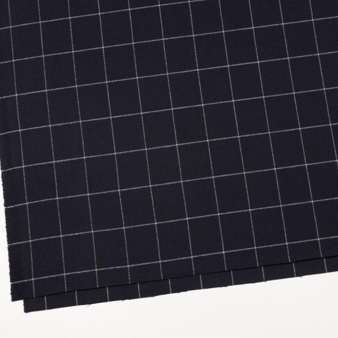 ポリエステル&レーヨン混×チェック(ダークネイビー)×サージストレッチ イメージ2