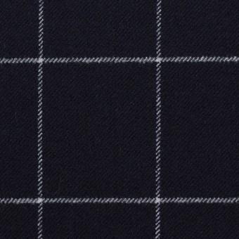 ポリエステル&レーヨン混×チェック(ダークネイビー)×サージストレッチ サムネイル1