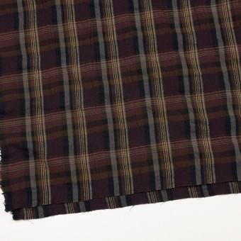 ウール&コットン×チェック(ボルドー&ブラウン)×ビエラワッシャー_イタリア製 サムネイル2