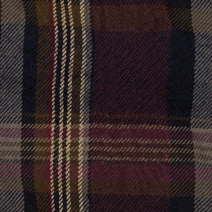 ウール&コットン×チェック(ボルドー&ブラウン)×ビエラワッシャー_イタリア製 イメージ1