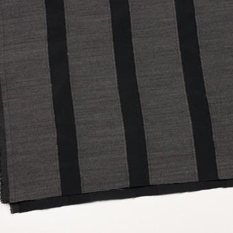 ウール&ポリエステル×ストライプ(チャコールグレー&ブラック)×ジャガード サムネイル2