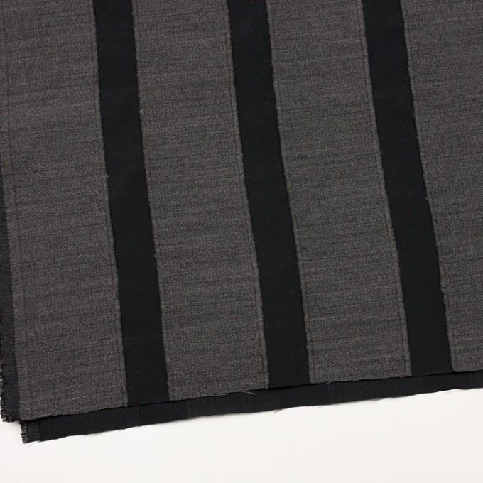 ウール&ポリエステル×ストライプ(チャコールグレー&ブラック)×ジャガード イメージ2