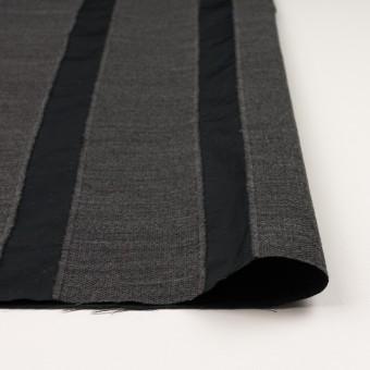 ウール&ポリエステル×ストライプ(チャコールグレー&ブラック)×ジャガード サムネイル3