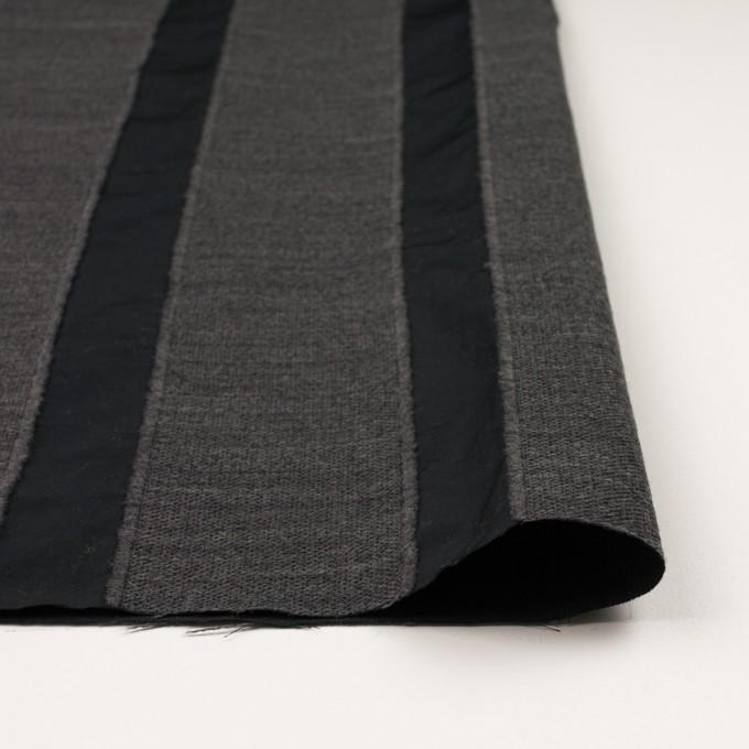 ウール&ポリエステル×ストライプ(チャコールグレー&ブラック)×ジャガード イメージ3