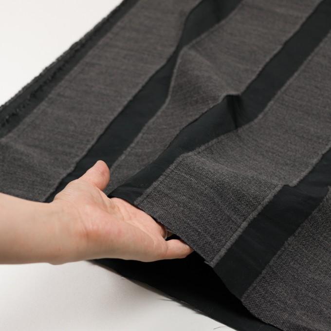 ウール&ポリエステル×ストライプ(チャコールグレー&ブラック)×ジャガード イメージ5