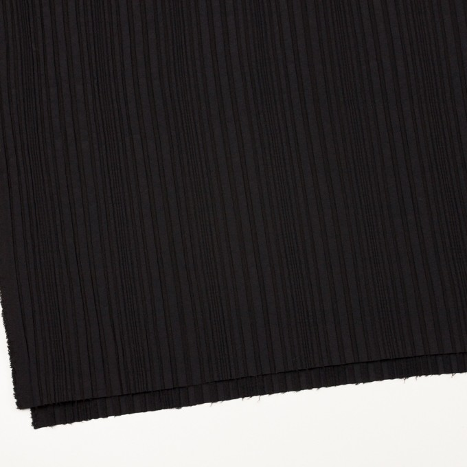 アセテート&ウール混×無地(ブラック)×タテタック イメージ2
