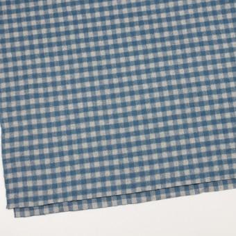 ウール&ナイロン×チェック(ライトグレー&ブルーグレー)×かわり織 サムネイル2