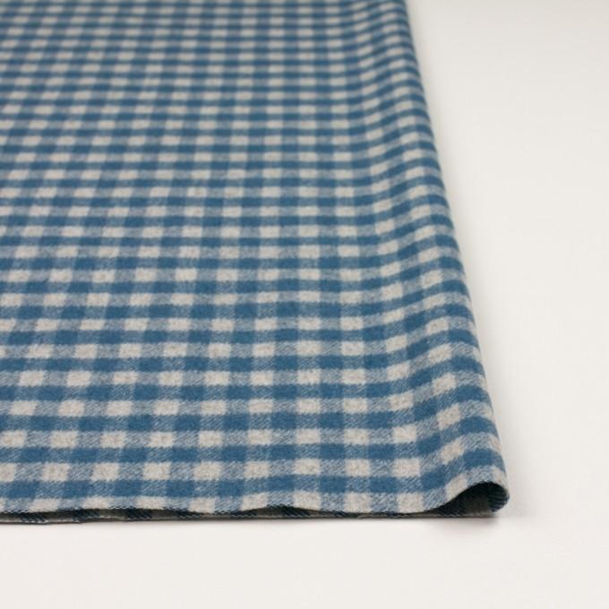 ウール&ナイロン×チェック(ライトグレー&ブルーグレー)×かわり織 イメージ3