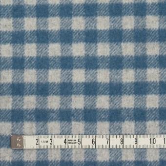 ウール&ナイロン×チェック(ライトグレー&ブルーグレー)×かわり織 サムネイル4