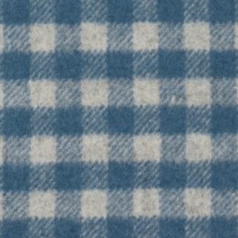ウール&ナイロン×チェック(ライトグレー&ブルーグレー)×かわり織 サムネイル1