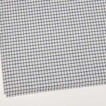 ウール&アクリル混×チェック(アイボリー&ブルー)×かわり織 サムネイル2