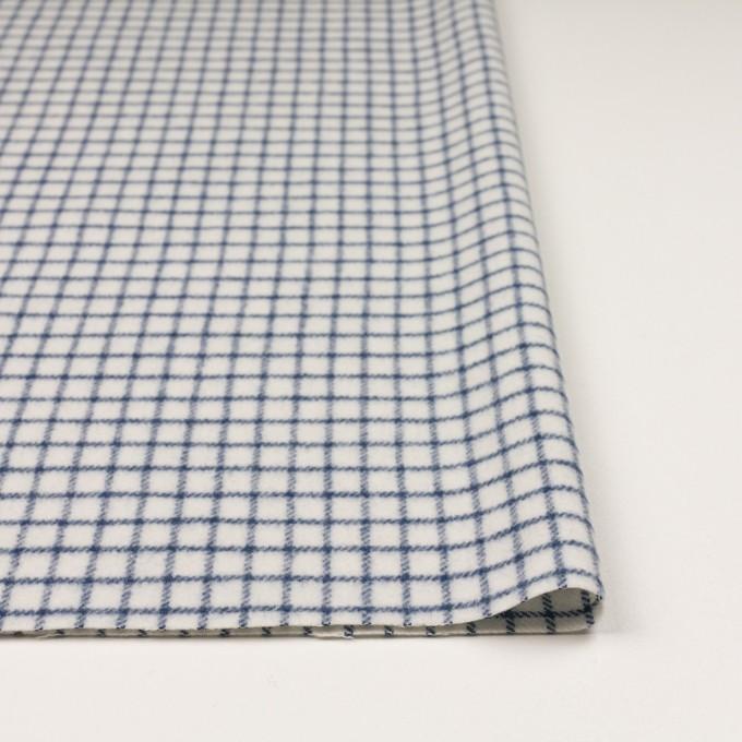 ウール&アクリル混×チェック(アイボリー&ブルー)×かわり織 イメージ3
