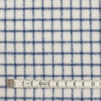 ウール&アクリル混×チェック(アイボリー&ブルー)×かわり織 サムネイル4