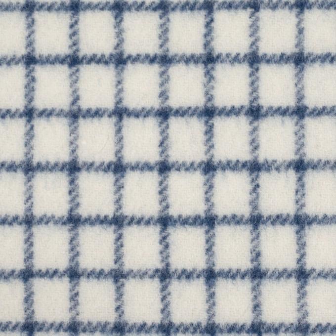 ウール&アクリル混×チェック(アイボリー&ブルー)×かわり織 イメージ1