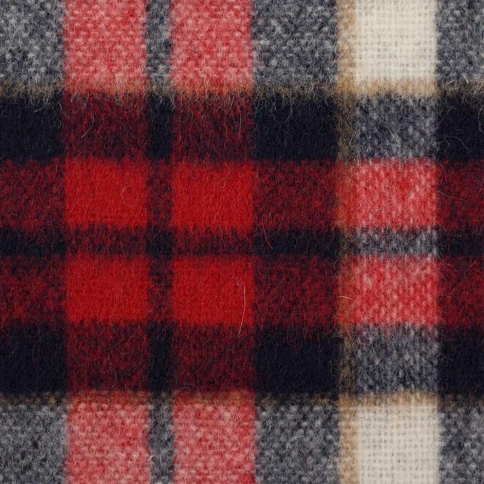 ウール&アクリル混×チェック(レッド&ダークネイビー)×ツイード イメージ1