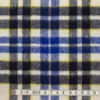 ウール&アクリル混×チェック(マリンブルー&ダークネイビー)×ツイード サムネイル4