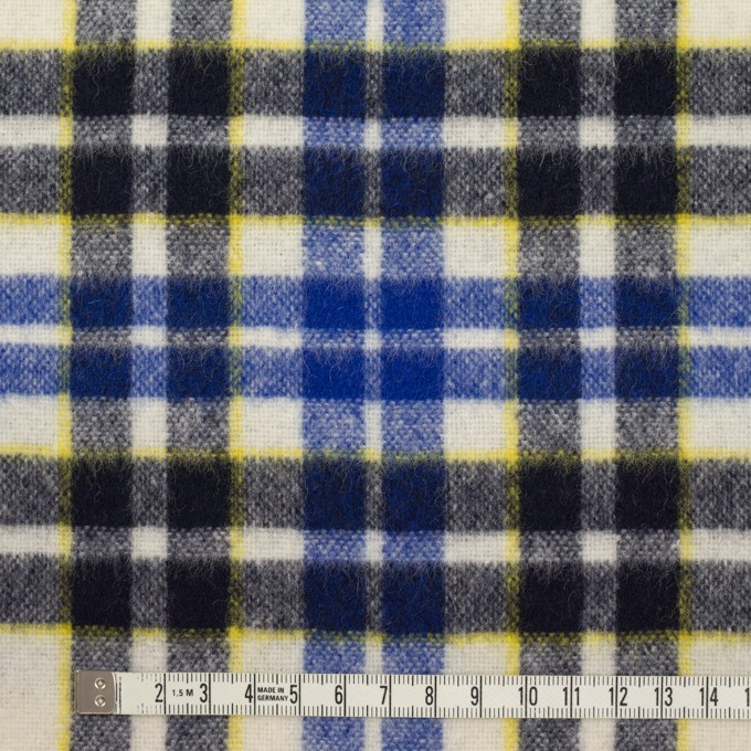 ウール&アクリル混×チェック(マリンブルー&ダークネイビー)×ツイード イメージ4