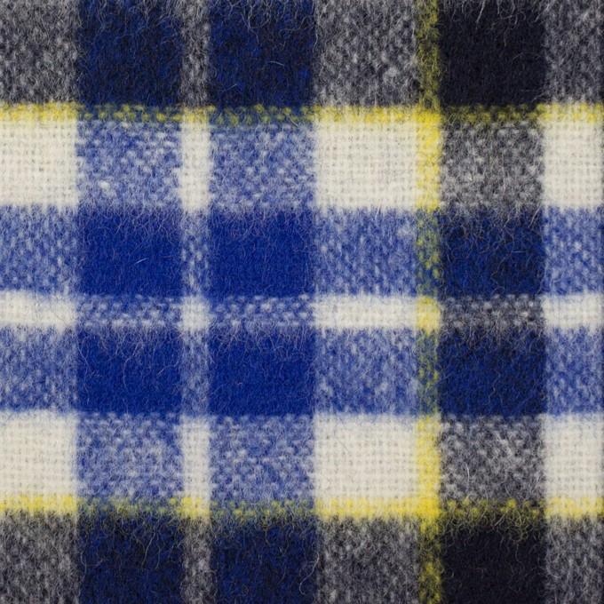 ウール&アクリル混×チェック(マリンブルー&ダークネイビー)×ツイード イメージ1