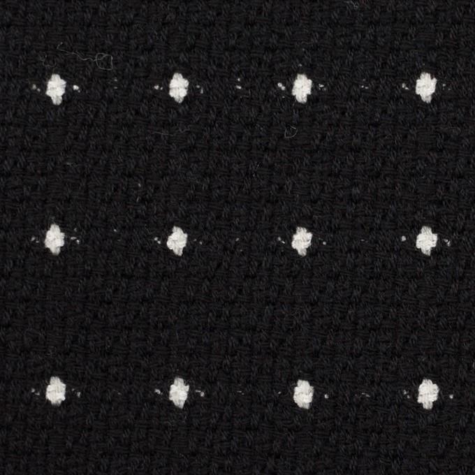 ウール&コットン混×ドット(ブラック)×ドビー イメージ1