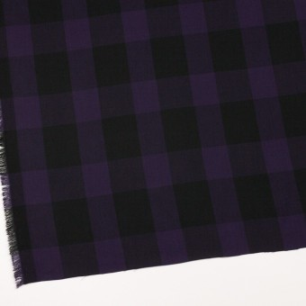 コットン×チェック(パープル&ブラック)×ボイル_イタリア製 サムネイル2