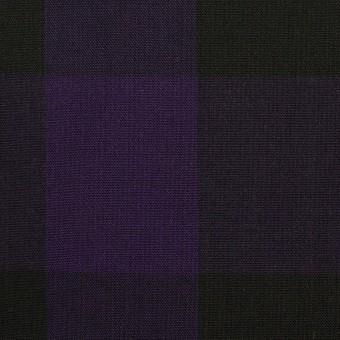 コットン×チェック(パープル&ブラック)×ボイル_イタリア製 サムネイル1