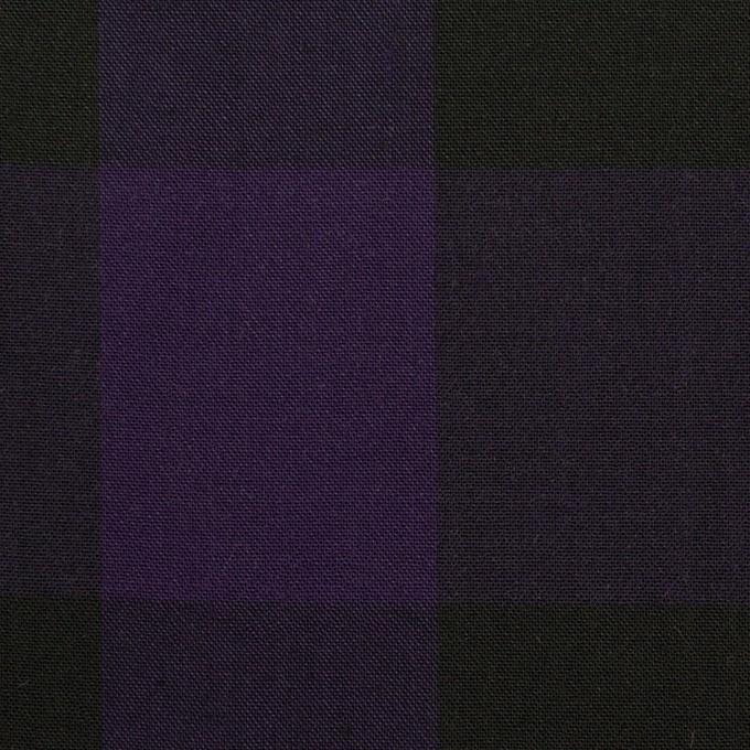 コットン×チェック(パープル&ブラック)×ボイル_イタリア製 イメージ1
